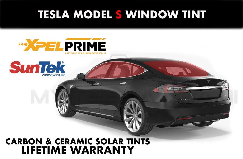 Tesla model s glass tint miami chrome delete